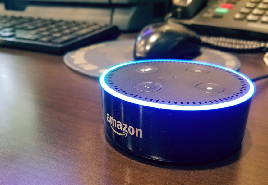 Amazon Alexa Dot ready for conversation.